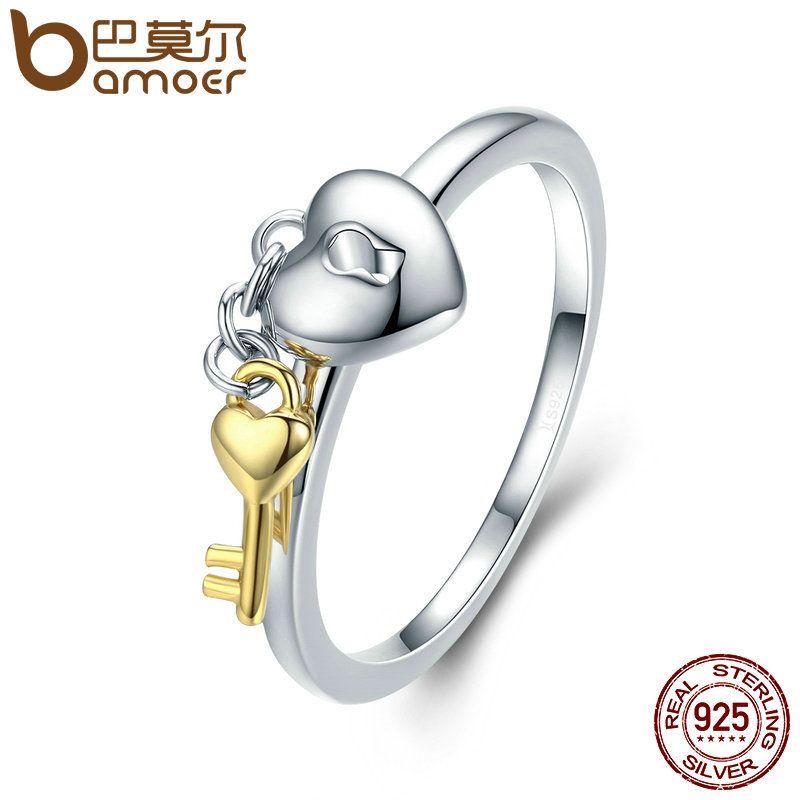 BAMOER 925 Sterling Silber Herz Schloss mit Gold Farbe Schlüssel Finger Ringe für Frauen Jahrestag Engagement Schmuck S925 SCR205