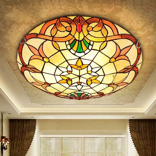 European Baroque Tiffany stained glass Ceiling Light Pastoral Round Glass Lampshade lamparas de techo abajur 110-240V