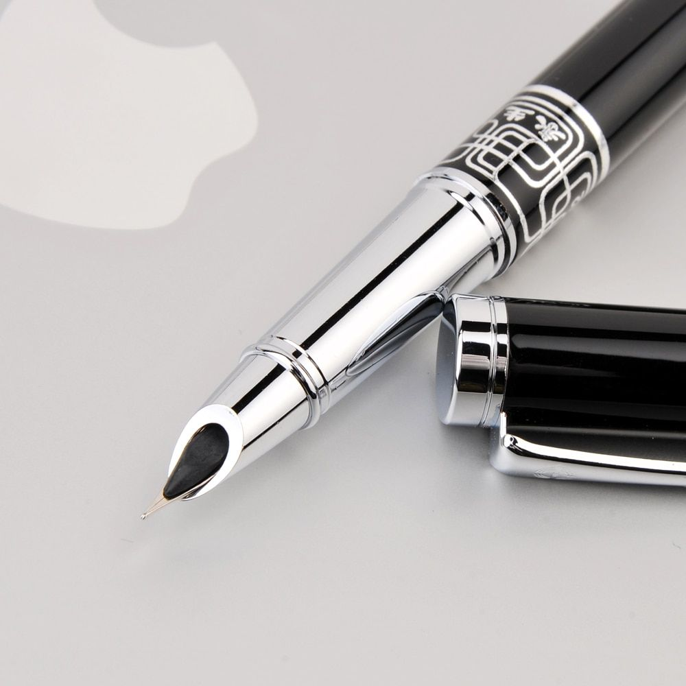 Wingsung Extra Fine Nib 0.38mm Fountain Pen for Finance Luxury Metal Ink Pens Office Supplies School Supplies Birthday Gift