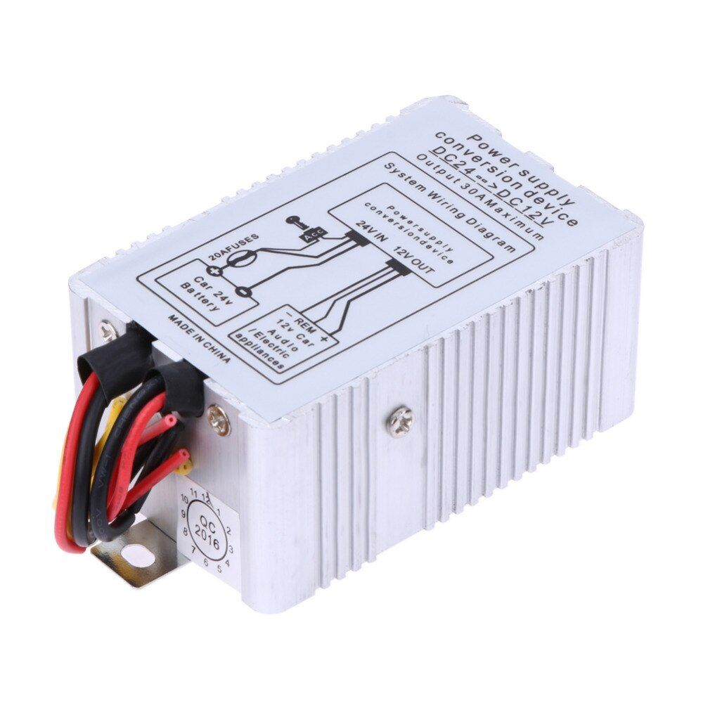 VODOOL 24V to 12V DC-DC Car Power Supply Inverter Converter Conversion Device 30A High Quality Car Styling Accessories