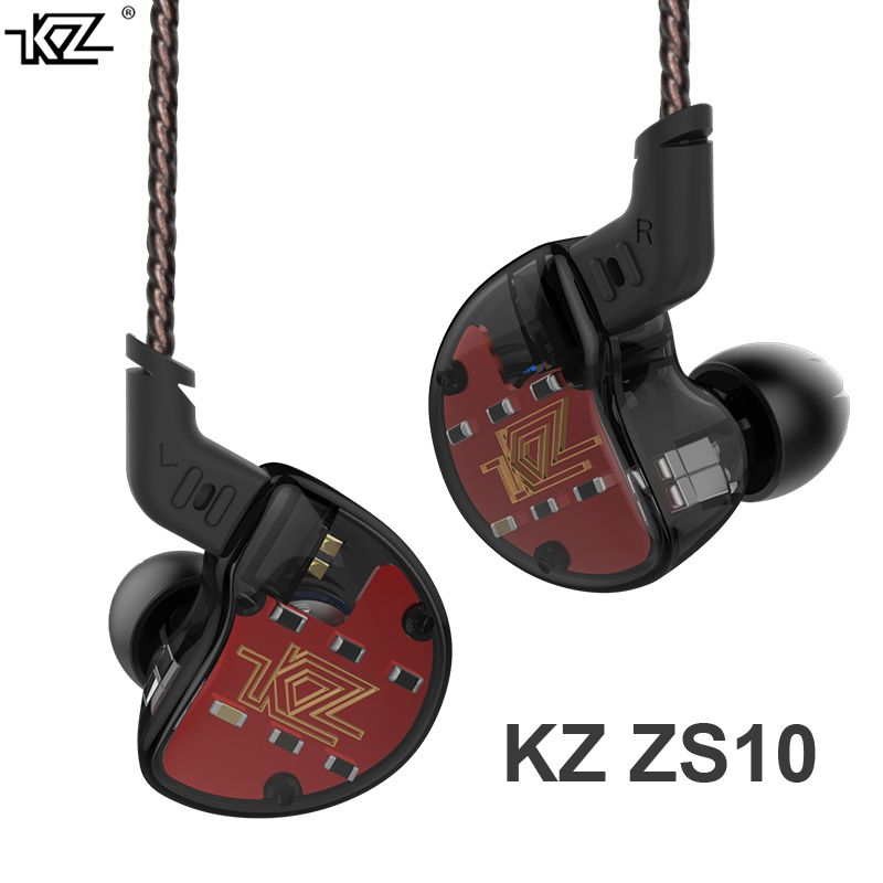 KZ ZS10 4BA With 1Dynamic Hybrid In Ear Earphone HIFI DJ Monito Running Sport Earphone 5 Drive Unit Headset Earbud KZ ZS6