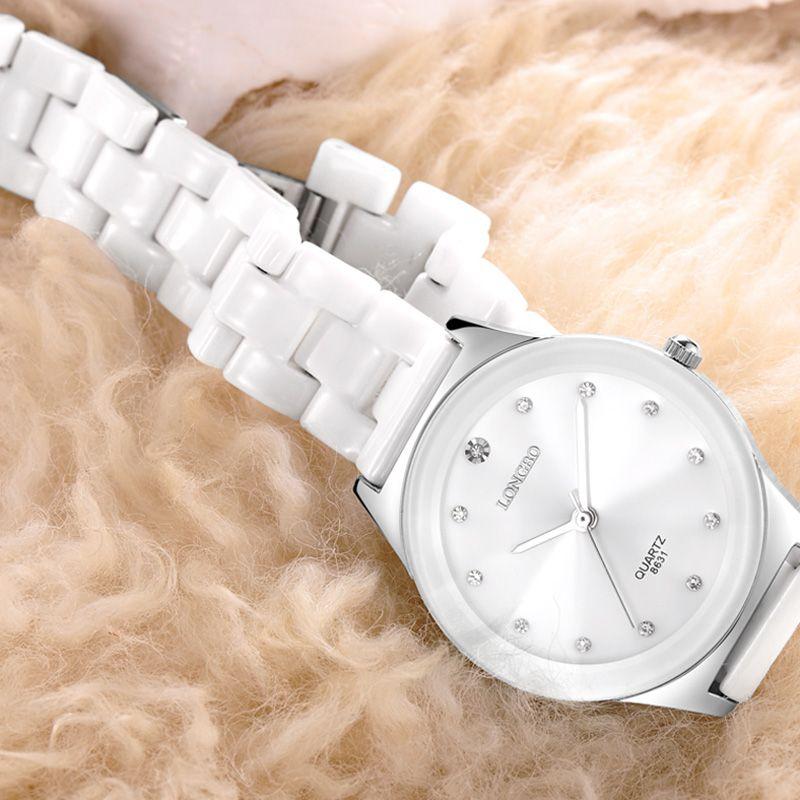 LONGBO Cerámica Rhineston del Amante Relojes de Cuarzo Mujeres Hombres Relojes de Primeras Marcas de Lujo Reloj Casual Relogio masculino Feminino