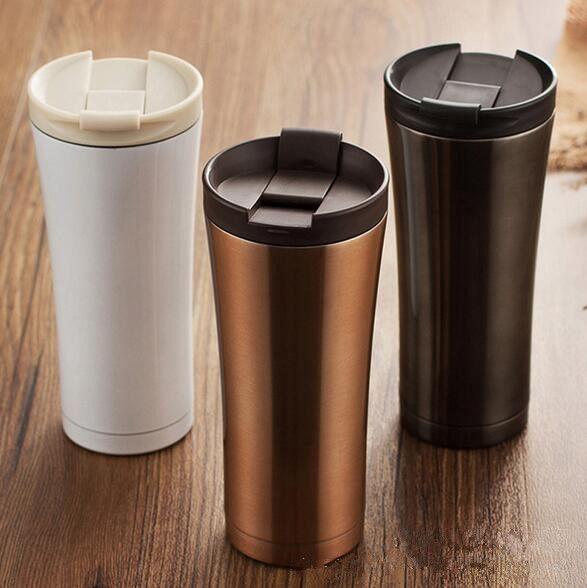 Offre spéciale Double paroi en acier inoxydable café Thermos tasses tasses bouteille thermique 500 ml thermotasse mode gobelet vide flacon