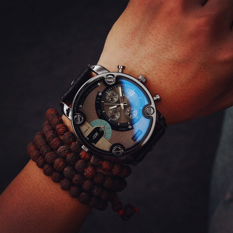 2018 Fashion JIS High Quality Blue Ray Black Brown Leather Band Steel Shell Men Male Quartz Watch Wristwatches <font><b>Clock</b></font>