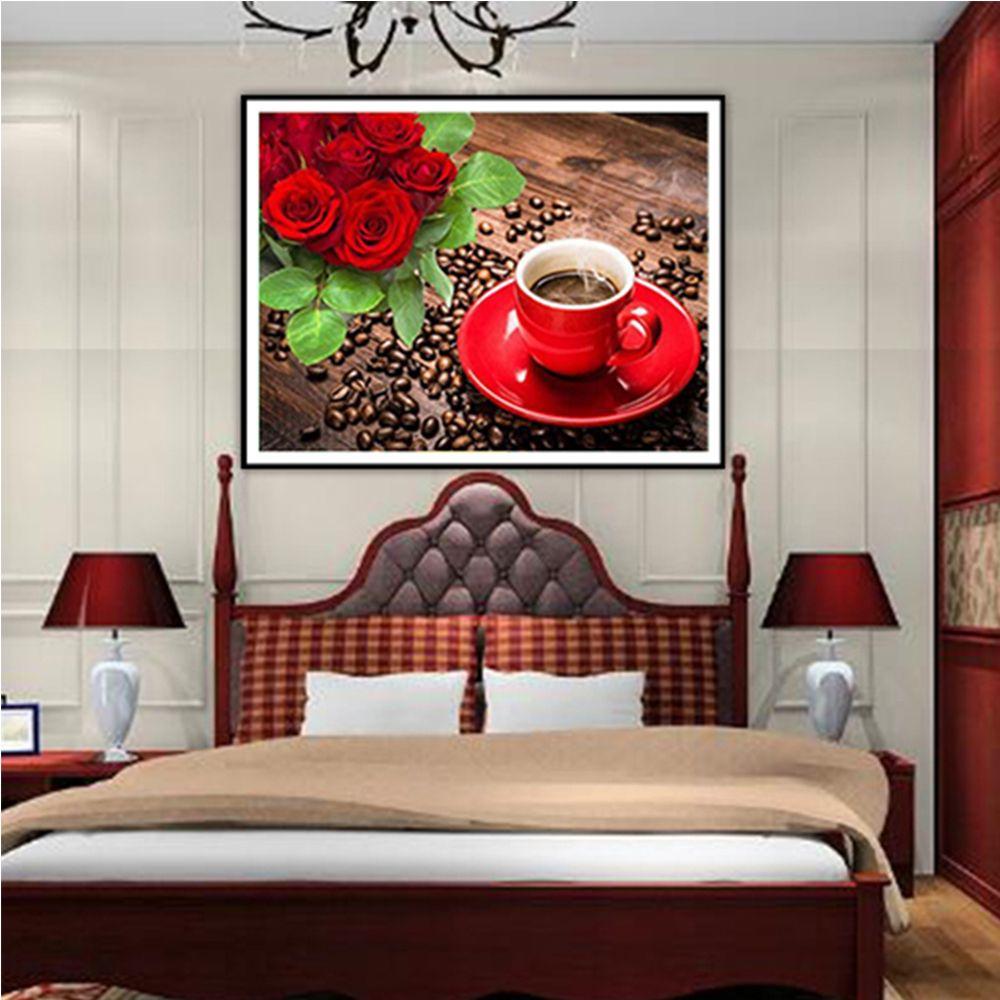 5d Fleur Diamant Broderie Peinture Bricolage Diamant Mosaïque Café Rose Motifs Strass Art Cadeaux Home Decor Wall sticker M219