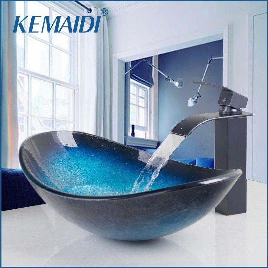 KEMAIDI cascade bec bassin robinet noir + salle de bain évier lavabo verre trempé peint à la main avec finition Bronze huilé robinet