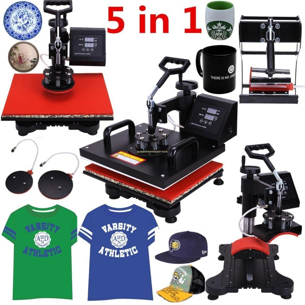 (<font><b>Ship</b></font> from EU) 5 in 1 Heat Press Machine Swing Away Heat Sublimation Transfer for T-Shirt Mug Cup Hat Plate