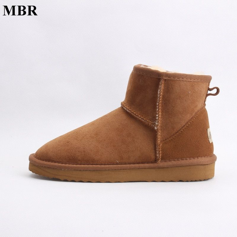MBR real sheepskin leather short ankle suede UG snow boots for women wool fur lined winter shoes with snow boots red brown black