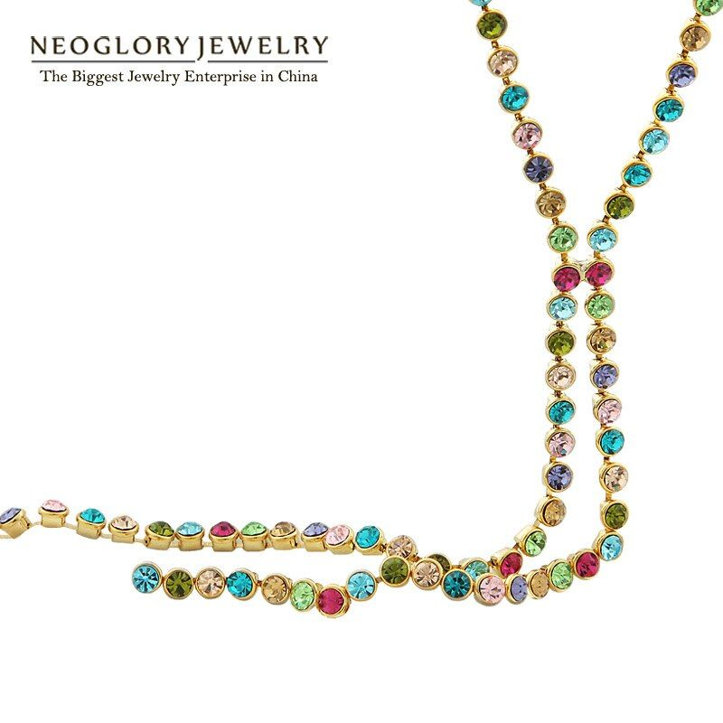 Neoglory Austrain Cristal Coloré Longue Chaîne Perles Gland Colliers pour les Femmes Fille Bijoux De Mode Cadeaux 2017 Colf