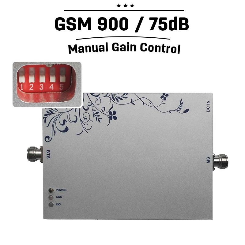 GSM 900 Booster 75dB Gain Moblie Phone Signal Booster 25dBm Manual & Intelligent Control 900mhz Cellphone Amplifier Repeater