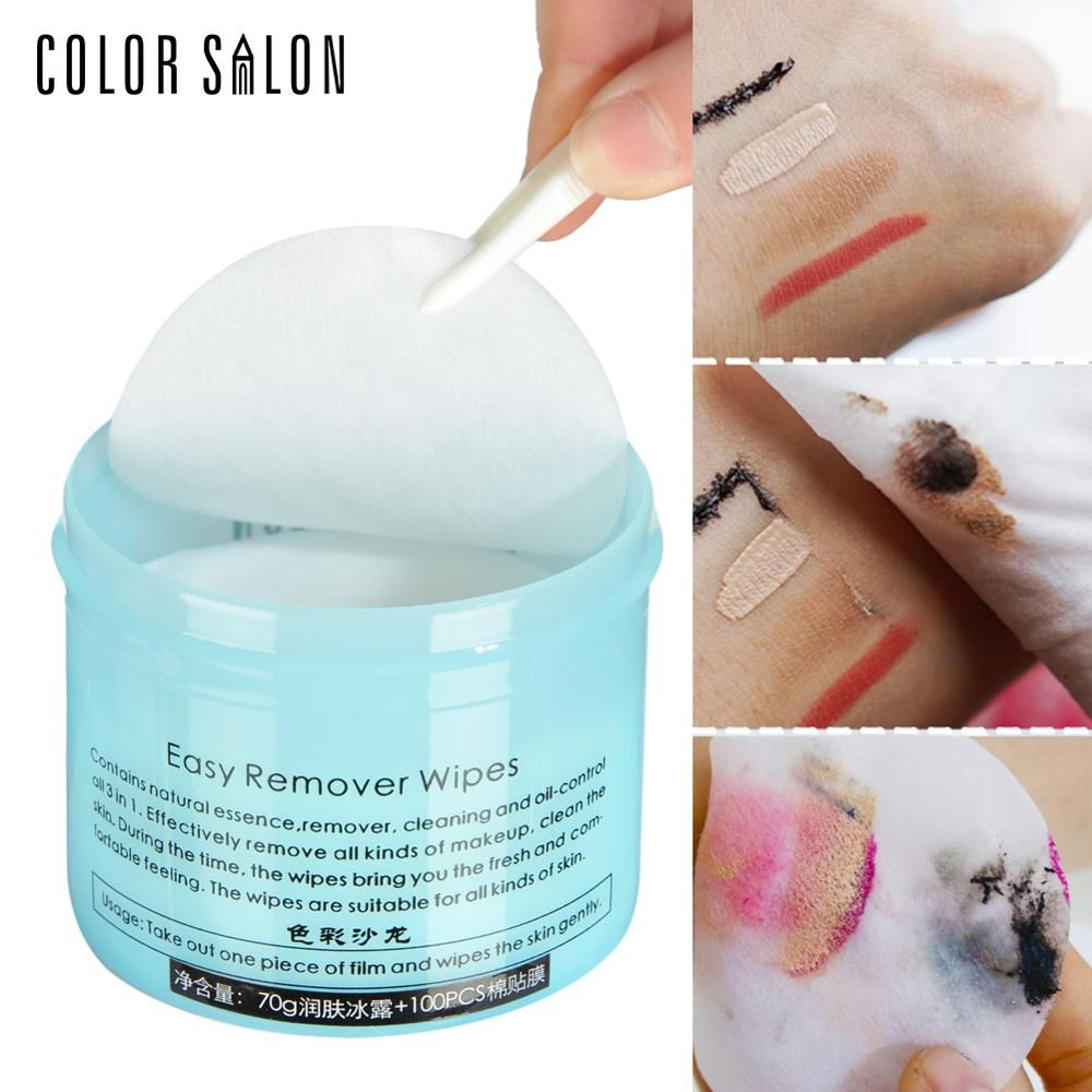 Color Salon Face Makeup Remover 100pcs Wet Wipe Eye Cleaner Make Up Oil Cleansing Eyeshadow Towel Tool Lip Clean Cotton Pads