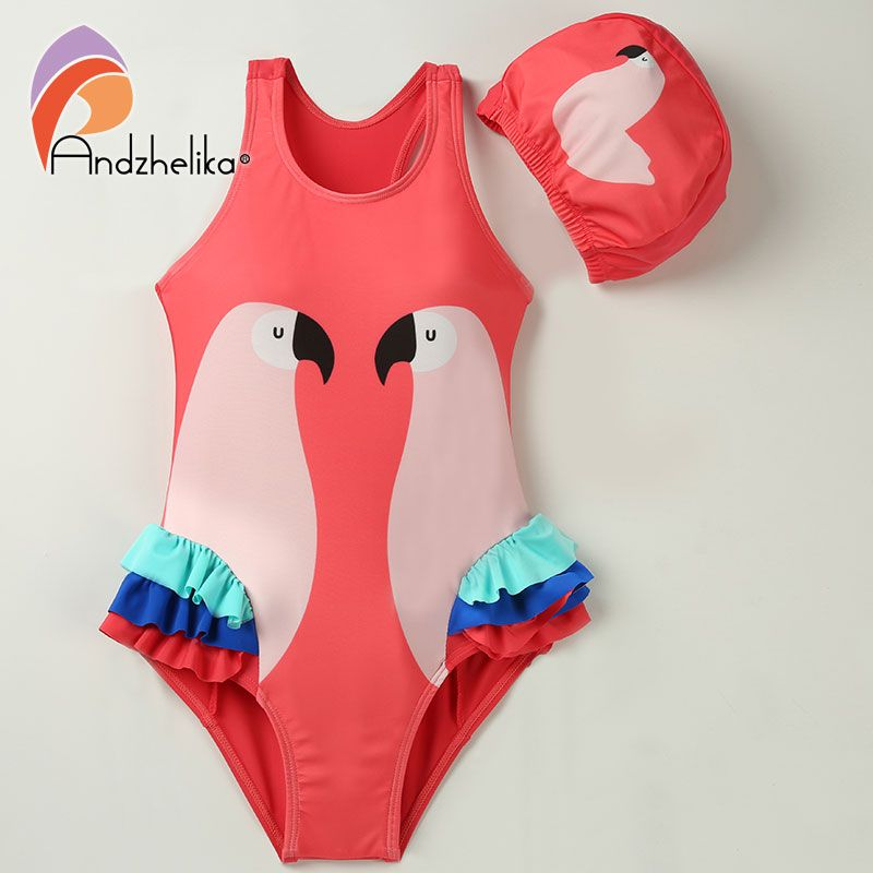 Andzhelika Children Swimsuit One Piece Girl Bird Print Swimwear Baby Cup Swim Hat Child Sports Bodysuit Bathing Suit For Girls