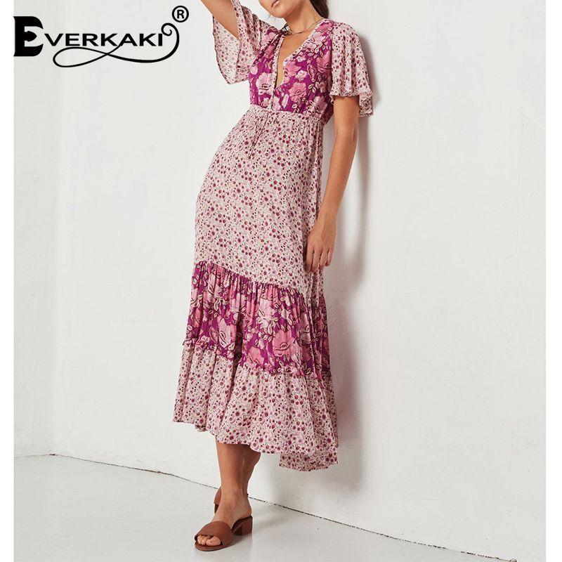 Everkaki Bohemian Dress Women Floral Long Gypsy Maxi Dress Liberty Print Deep V-Neck Short Sleeve Dresses Summer 2018