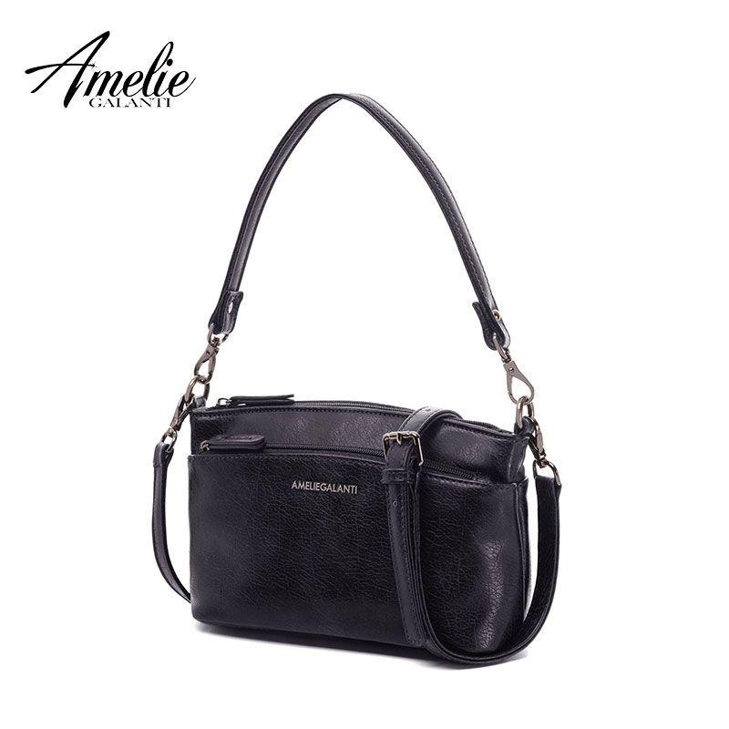 AMELIE GALANTI Ladies small flap messenger bag casual fashionable practical suitable many pockets zipper solid soft versatile