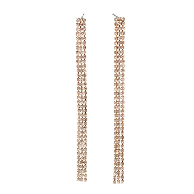 Fashion Jewelry Gold Color Plated With Full <font><b>Rhinestone</b></font> Tassel Long Brand Drop Earrings Prom for Women Jewelry RU8104