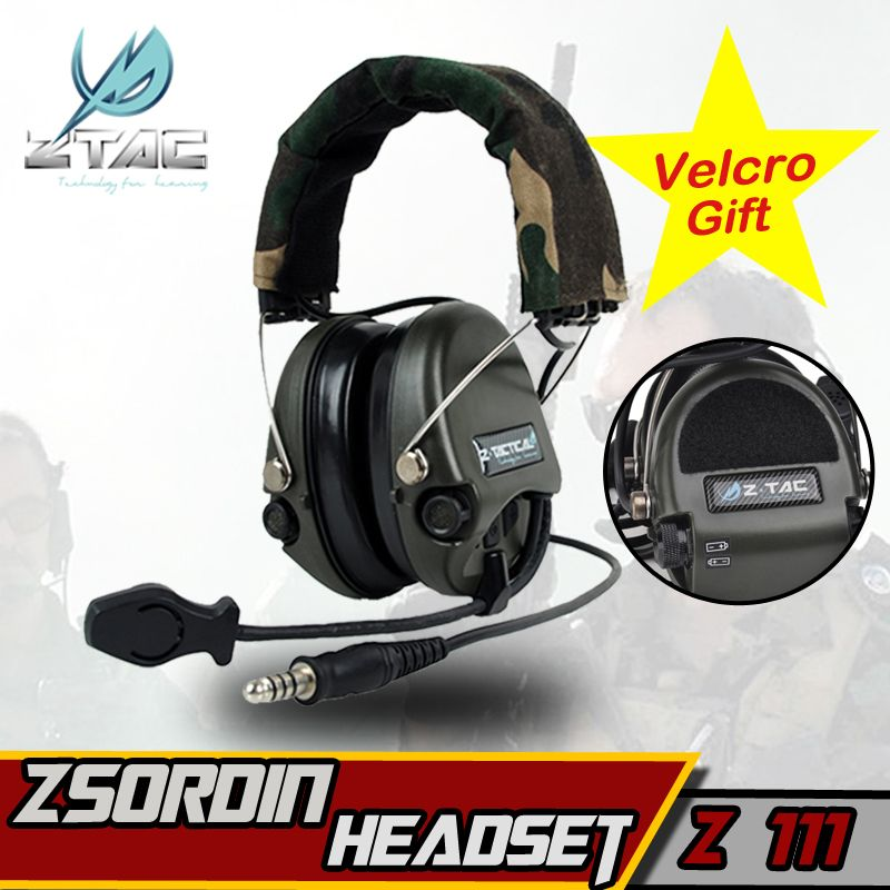 Z-TAC Z 111 Z tactical headset (Official Version) anti-noise headset Sordin Two Way Radios Military Paintball Hunting Headphone