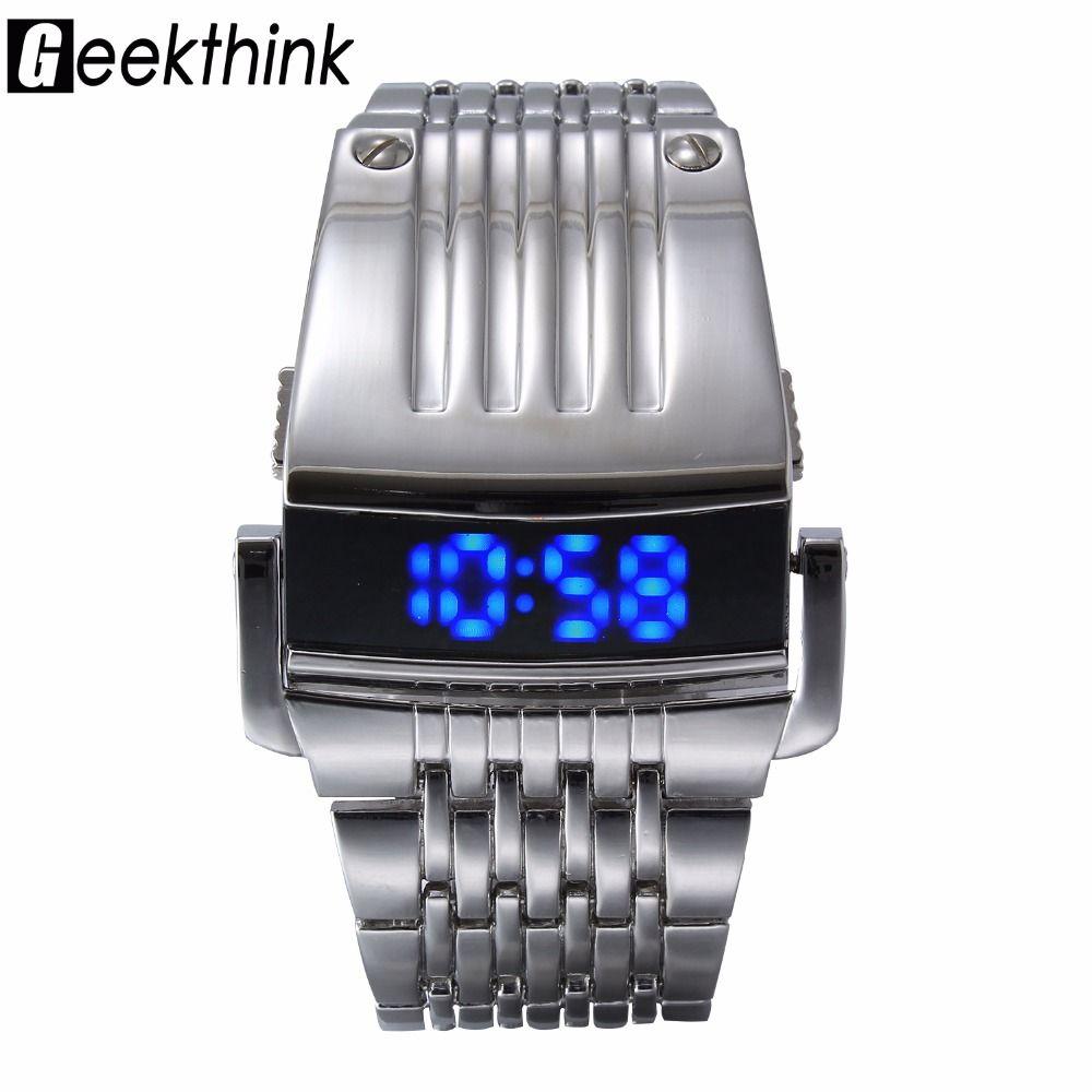 Unique Iron Man's watch Steel Blue Red Digital LED luxury <font><b>military</b></font> Fashion Sport Dress Wrist Watch New Male clock male New