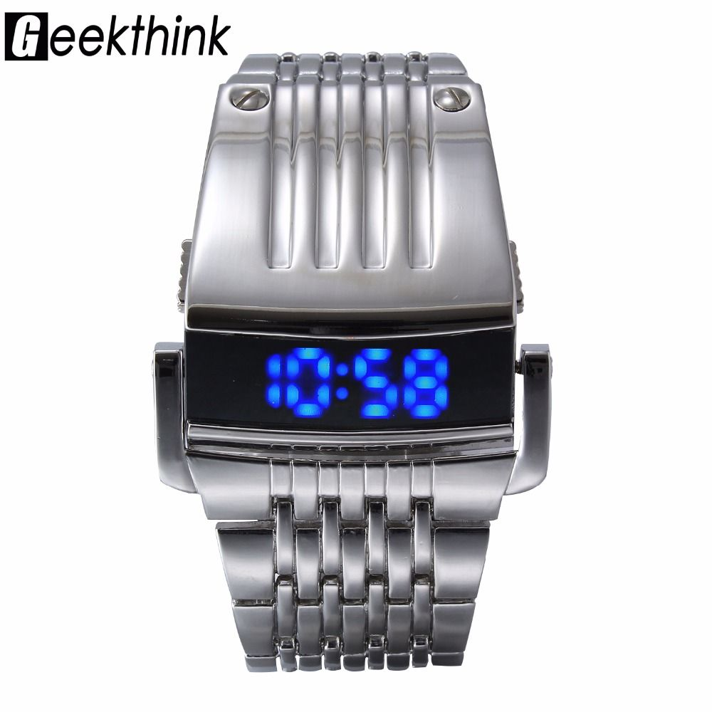 Unique Iron Man's watch Steel Blue Red Digital LED luxury military Fashion Sport Dress <font><b>Wrist</b></font> Watch New Male clock male New