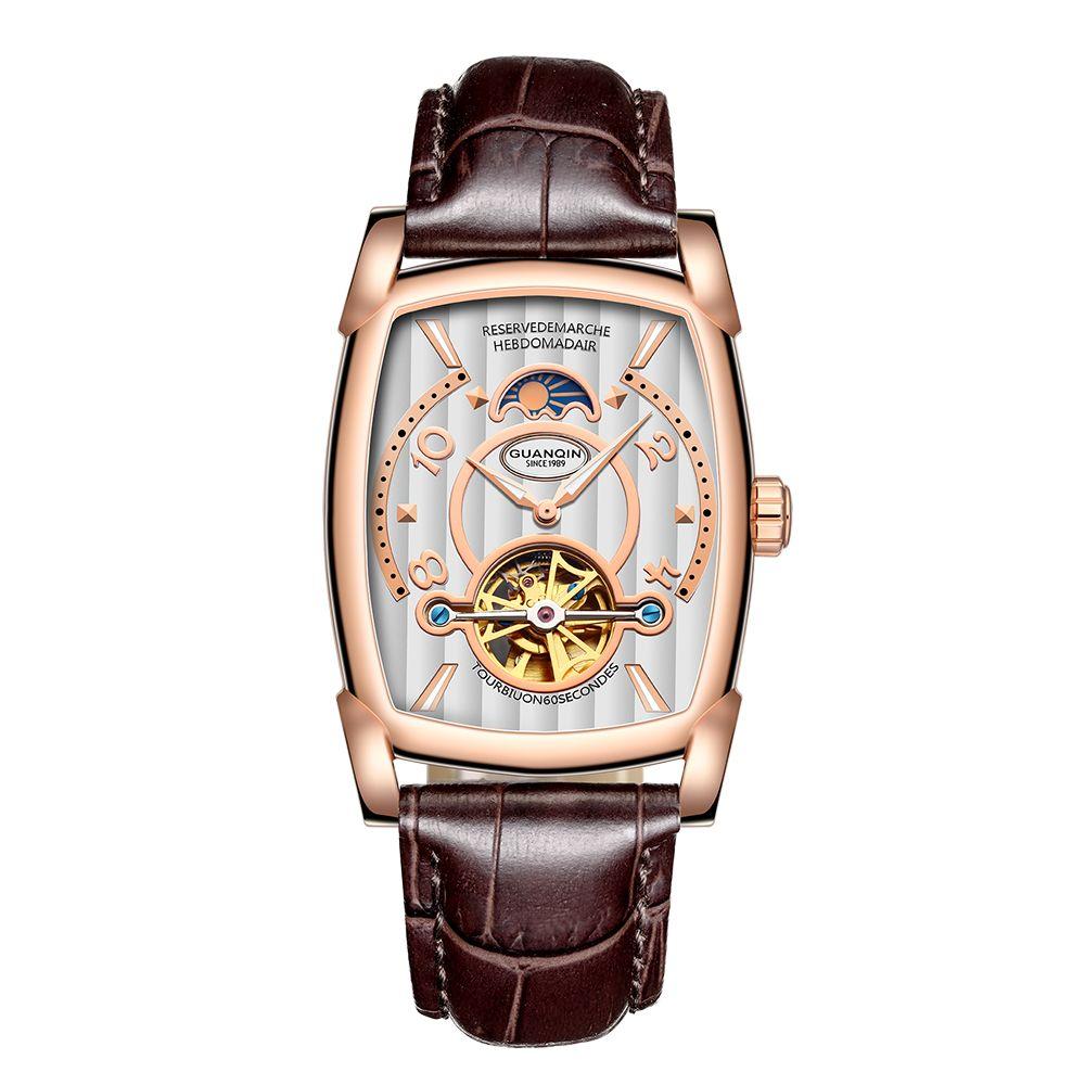 GUANQIN Automatische Mechanische Uhren Männer Sport Luxusmarke Leuchtende Uhr Mode Lässig Leder Armbanduhr relogio masculino