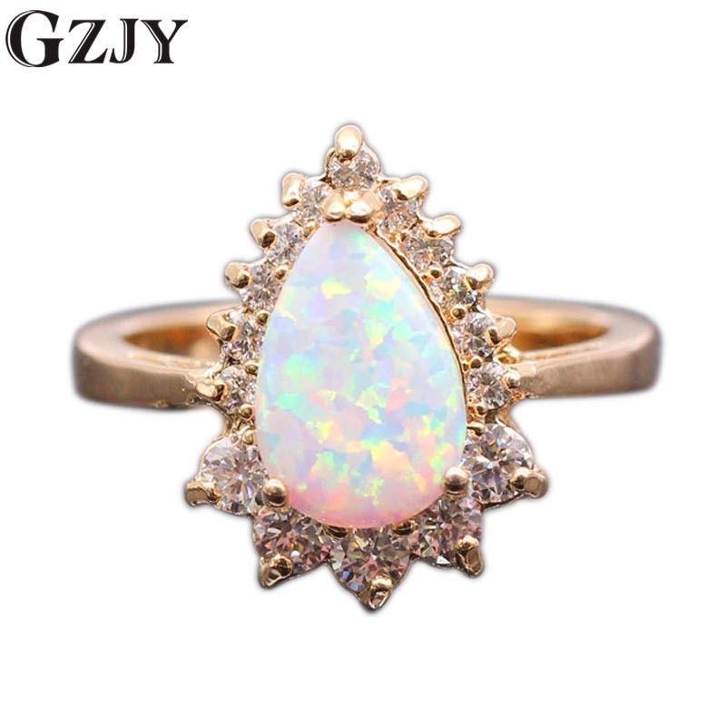 GZJY belle goutte d'eau blanc opale de feu et AAA Zircon Champagne couleur or bague de mariage pour les femmes bijoux de fiançailles