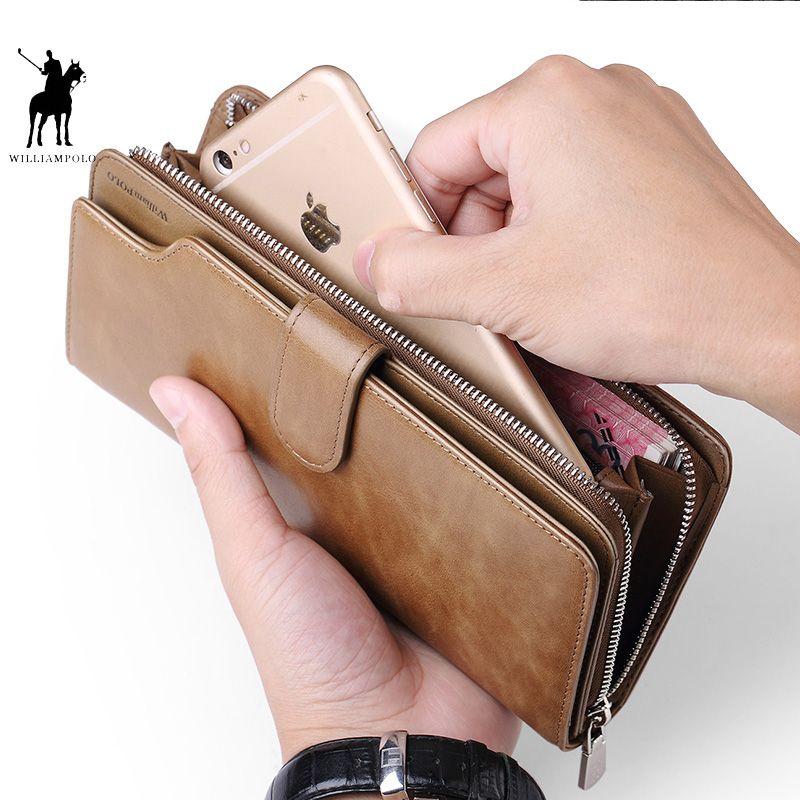 WILLIAMPOLO Karte halter Leder Brieftasche männer Lange Design Qualität passport abdeckung Mode Männer Geldbörse Zipper Multi-funktion münze tasche