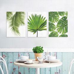 Nordique Minimaliste Toile Impression Affiche, Vert Tropical plantes feuilles De Palmier sur la toile mur photo Salon Décoration No cadre