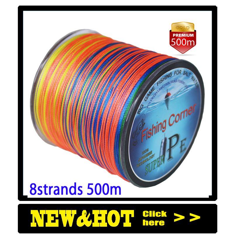 Livraison directe ligne de pêche tressée 8 brins 500 m multicolore Super puissance Multifilament PE tresse ligne 10LB 20LB 30LB 40LB 100LB