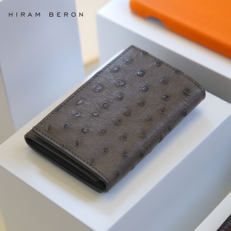 Hiram Beron Leather Business Card Holder Men Customized Ostrich Leather ID Holders Large Capacity Card Wallet Short Card Holders