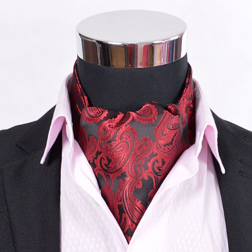 Paisley Satin Krawatte Heißer Verkauf Luxus Männer Rote Seide Krawatte Große Größe Allgleiches Männlichen Bindet Krawatte Für Herbst Winter Rot, blau, Gold