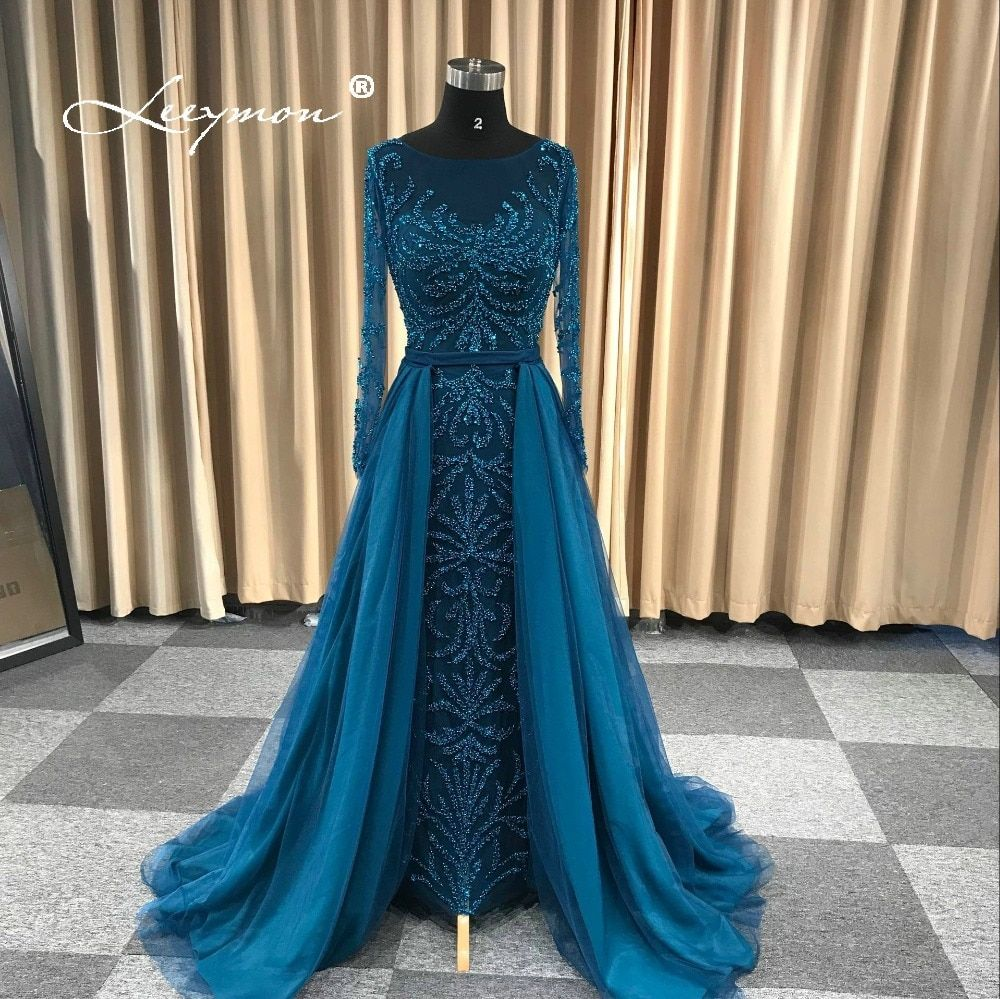 Leeymon 2018 New Arrival Heavy Beaded Long Sleeves Evening Dress Mermaid Elegant Sparkly Prom Gown Dress