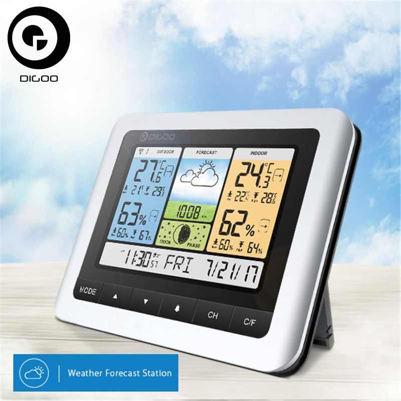 Digoo Thermometer Hygrometer DG-TH8888Pro Wireless Sensor Weather Station Home Thermometer USB Outdoor Forecast Clock