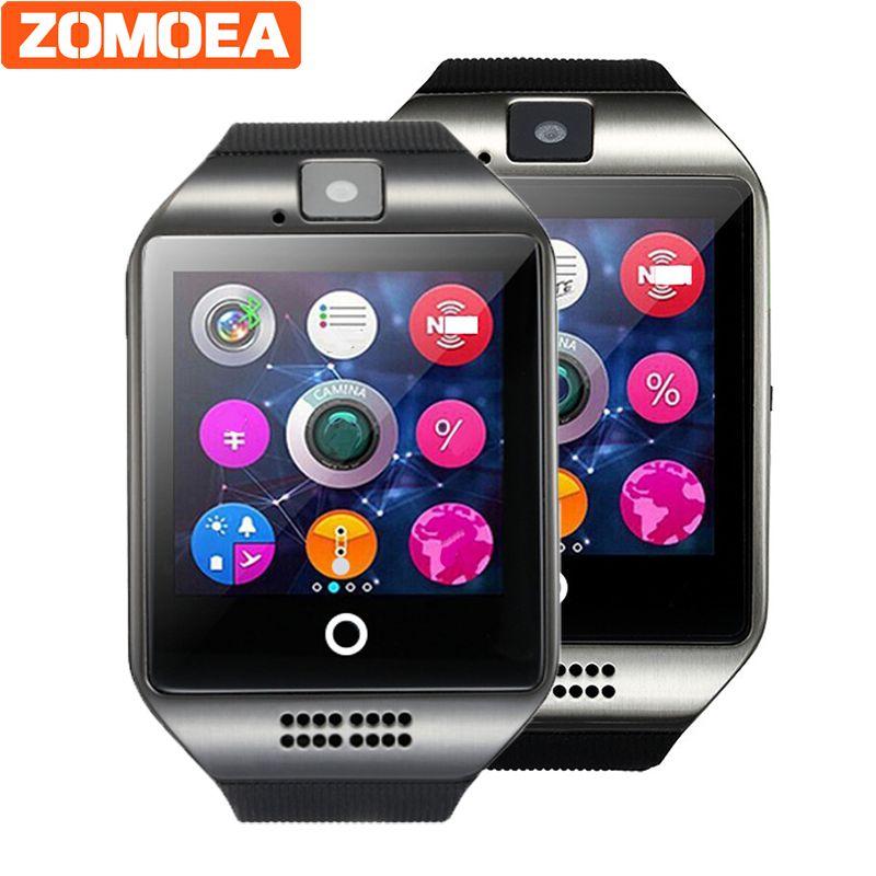 Смарт-часы Q18 плюс тактовую синхронизацию уведомлений Поддержка sim-карты sd bluetooth Подключение телефона Android SmartWatch сплав SmartWatch