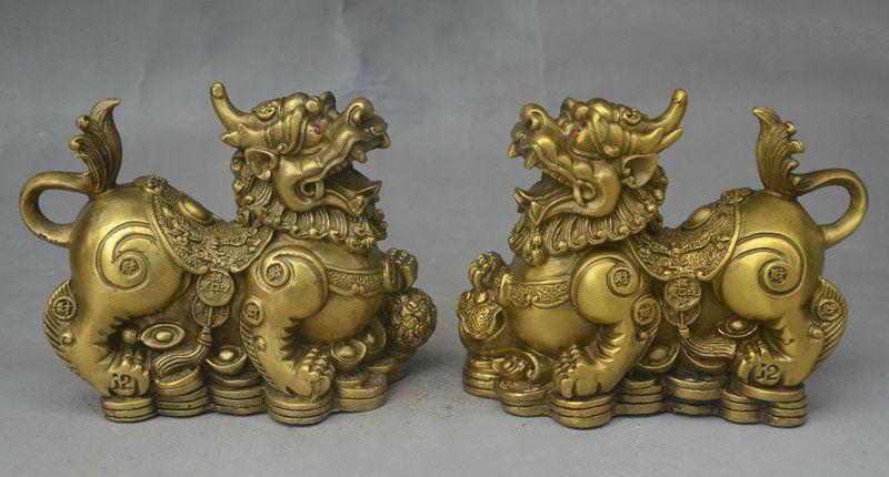 China Fengshui Brass Wealth YuanBao Coin Dragon PiXiu Unicorn Beast Statue Pair