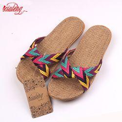 2017 moda Lino hogar Zapatillas piso interior Zapatos Cruz cinturón silencio sudor Zapatillas para el verano mujeres Sandalias