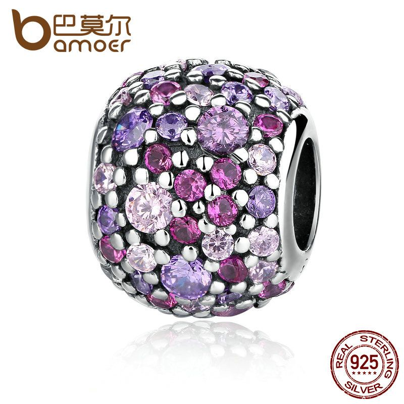 BAMOER 100% 925 Sterling Silver Colorful Beads Charm Charms fit Bracelets for <font><b>Women</b></font> pulsera Fine Jewelry PAS335