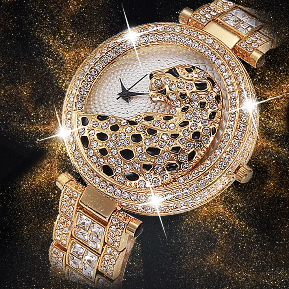 Miss Fox <font><b>Women</b></font> Quartz Watch Fashion Bling Casual Ladies Watch Female Quartz Gold Watch Crystal Diamond Leopard For <font><b>Women</b></font> Clock