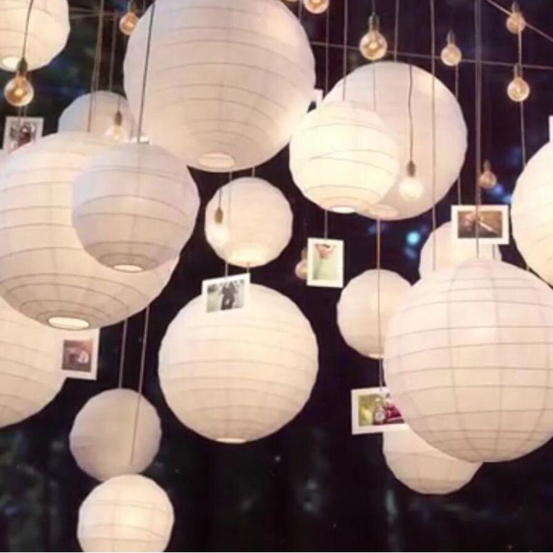 20 unids/lote de Varios Tamaños (20 cm, 30 cm, 35 cm, 40 cm) Linternas De Papel Blanco Lampions Para El Banquete de Boda chino Bola de Papel Decoración Nuevo