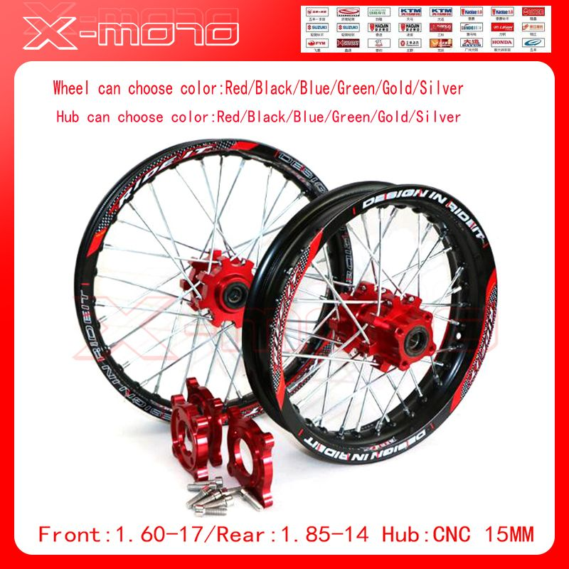 15mm Front 1.60-17 Rear 1.85-14 inch Alloy Wheel Rim with CNC Hub For KAYO HR-160cc TY150CC Dirt Pit bike 14/17 inch Gold wheel
