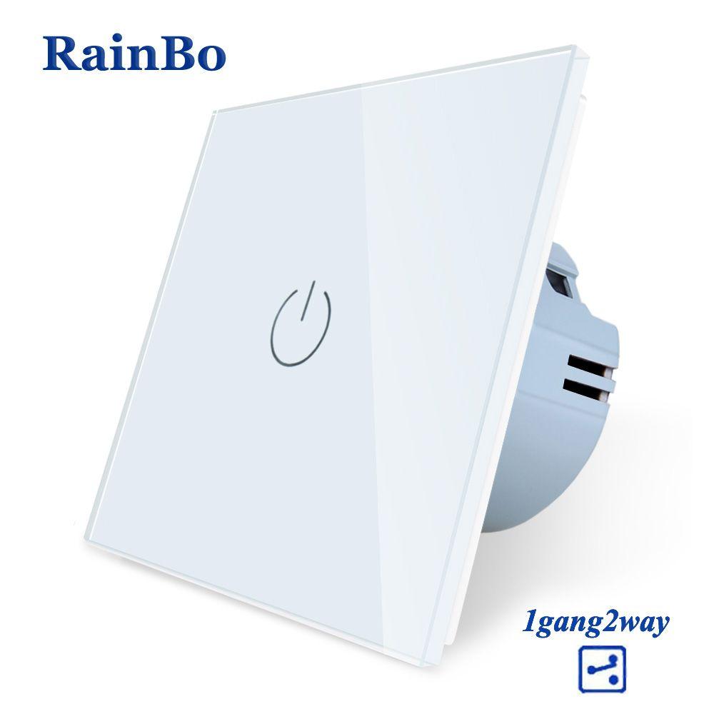 RainBo New-Crystal Glass-Panel wall-switch EU-Standard 110~250V Touch-Switch Screen-Wall Light-Switch 1gang-2way A1912CW/B