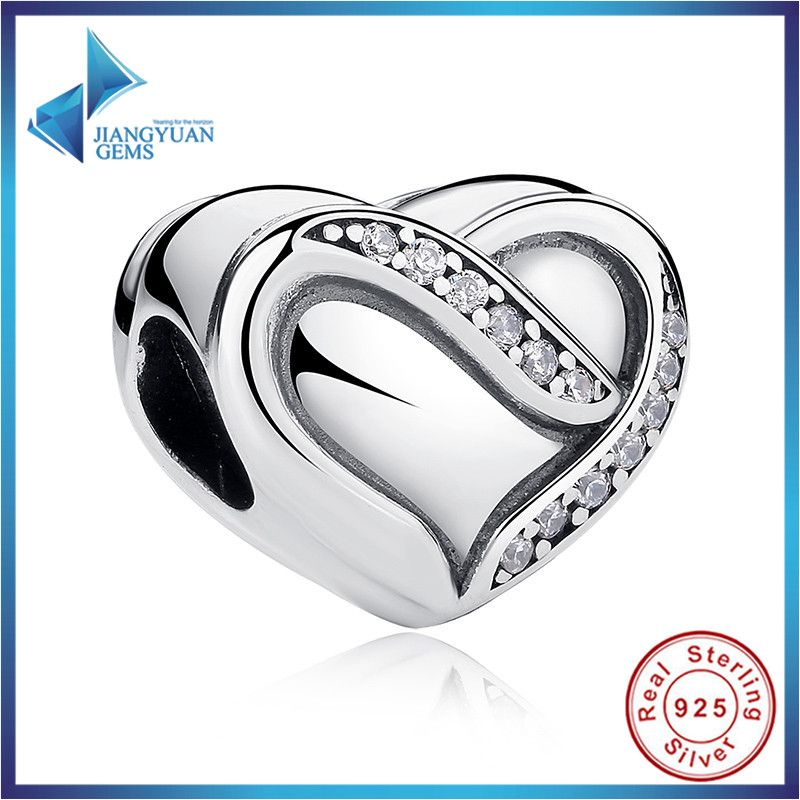 2016 Hot Sell Wedding Gift 925 Sterling Silver Ribbon of Love, Clear CZ Charms for Bracelets amp Bangles Silver Jewelry