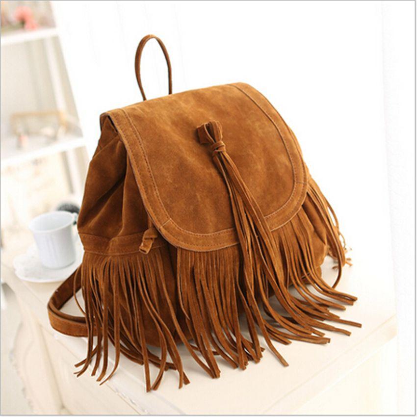 2017 New Fashion Women Tassel Backpacks Girls Vintage Suede Shoulder School Bags Travel Backbags Mochilas Sac A Dos