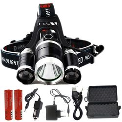 DZ30  HEAD Torch 3 T6 9000LM 3  XM-L T6  LED Headlight 9000 Lumen Head Lamp frontal Flashlight Headlamp for battery AC charger