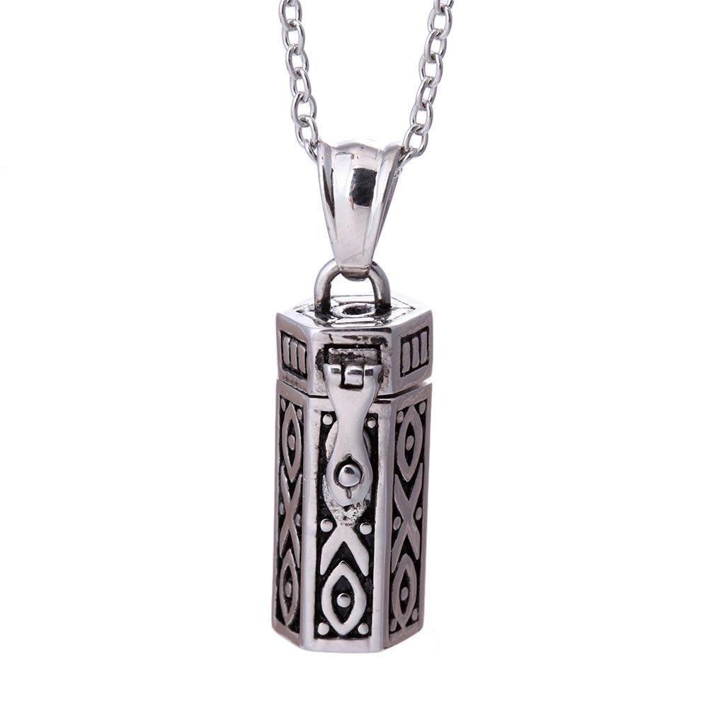 Steam Punk rétro Antique argent Rectangle boîte de prière Tribal pendentif collier, mystique Secret souhait boîte tibétaine amulette Collares