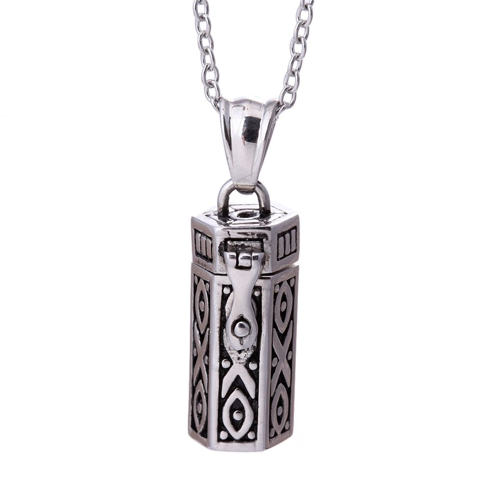 Steam Punk rétro Antique argent Rectangle boîte de prière Tribal pendentif collier, Mystique Secret Wish encadré tibétaine amulette Collares