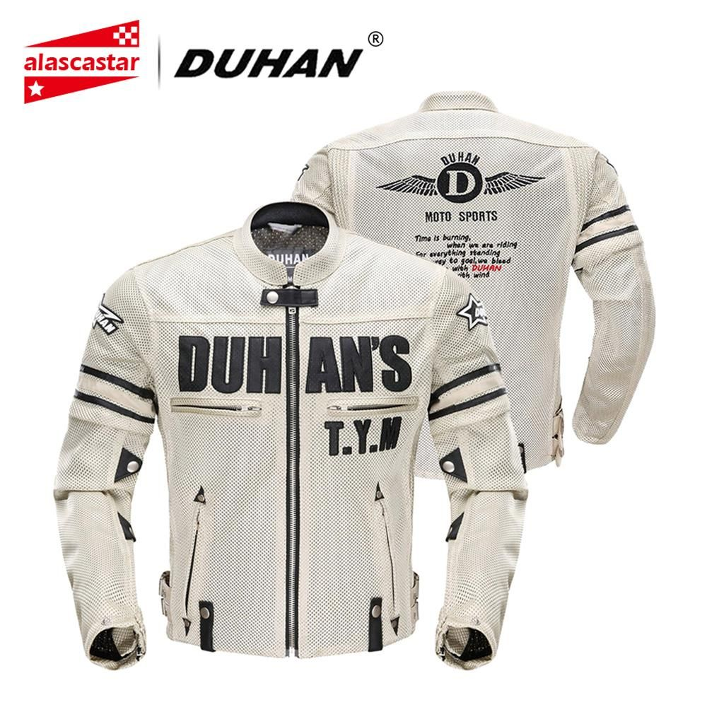 DUHAN Motorcycle Jacket Men Breathable Mesh Racing Protective Gear Removable Protector Retro Summer Moto Jacket Riding Clothing