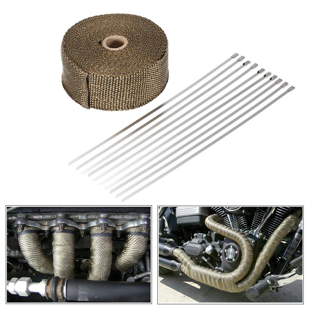 SI-A0161 10m*5cm*1.5mm Fiberglass Insulation Clothes Titanium Fiber Heat Wrap Exhaust Manifold 10 Cable Ties for Car Motorcycle