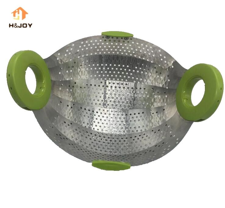 Stainless Steel Smart Strainer Collapsible Colander Strainer Travel Use Food Steamer Dehydrator Creative Kitchen Cookware Tool