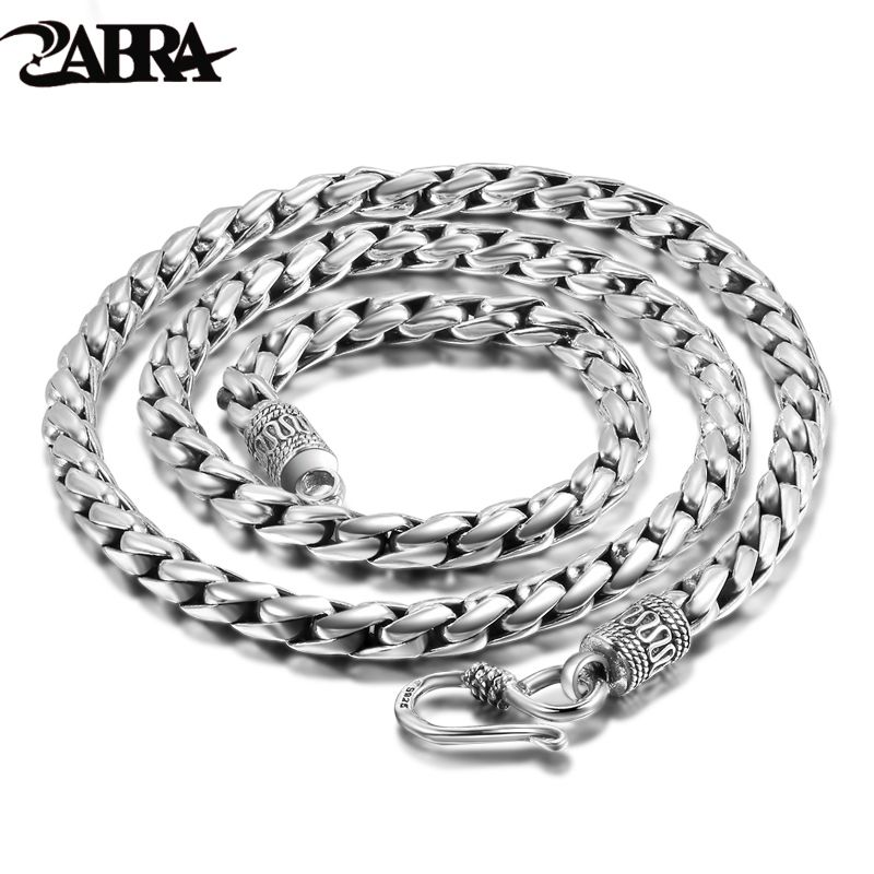 ZABRA Solid 925 Sterling Silver 5mm 55cm Vintage Long Chain Necklaces for Men Steampunk Retro Rock Fashion Men Sterling Jewelry