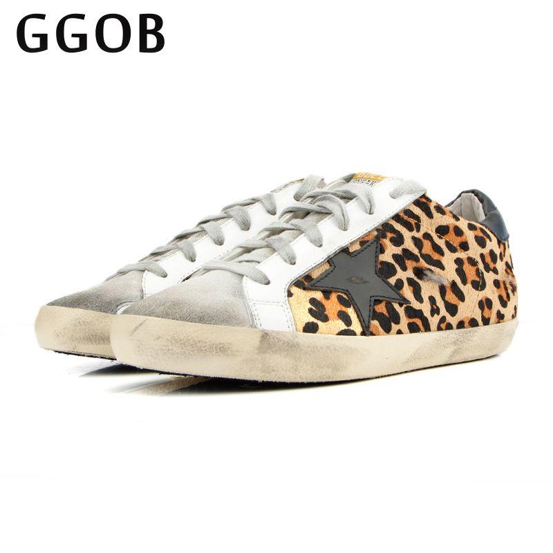 GGOB 2018 Echtem Leder Leopard Print Frauen Casual Schuhe Rindsleder Tun Alte Schmutzige Schuhe Herbst Winter Weiß Koreanische Sneaker