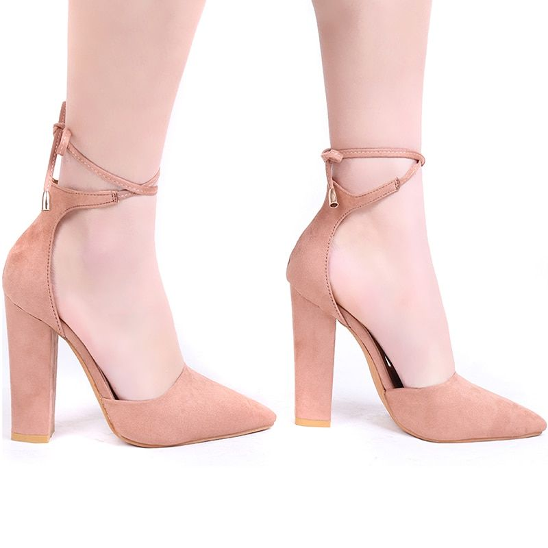 2018 High Heels Women's Sandals Spring Autumn Flock Shoes Woman Ladies Pumps Sexy Thin Air Heels Footwear Women Shoes Lace Up